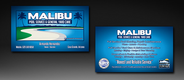 Malibu Pool Services & General Yard Care Business Card Design and Printing Services